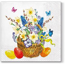 Servetele - Cos cu flori si oua - 33x33cm, 1 pachet (20 buc.)