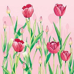 Servetele - Din gradina cu lalele (roz) - 33x33cm, 4 buc