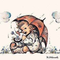 Servetele - Fetita cu umbrela - 33x33cm, 4 buc