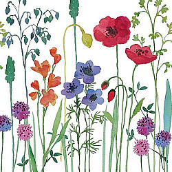 Servetele - Flori de camp pictate - 33x33cm, 4 buc