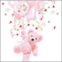 Servetele - Teddy cel roz  - 33x33cm, 4 buc