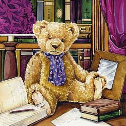 Servetele - Teddy in librarie - 33x33cm, 4 buc
