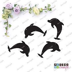 Pandantiv acril - Delfini (negru) - 4 buc.