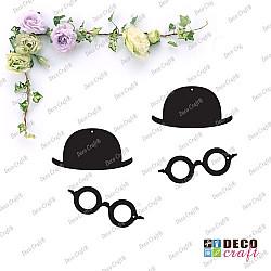 Pandantiv acril - Melon si ochelari (negru) - 4 buc.