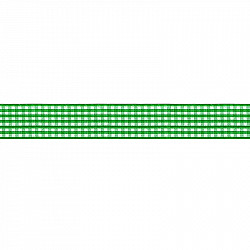 Panglica gingham, 2.5 cm - Verde/alb