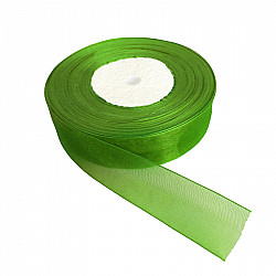 Panglica organza, 2.5 cm - Verde