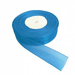 Panglica organza, 2 cm - Albastru