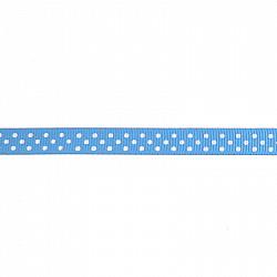 Panglica ripsata cu buline, 1 cm - Albastru-deschis