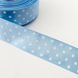 Panglica satin 2.5 cm - Bleu cu buline albe
