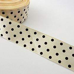 Panglica satin 2.5 cm - Ivoar cu buline maro