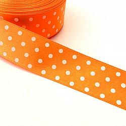 Panglica satin 2.5 cm - Orange cu buline albe