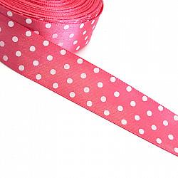 Panglica satin 2.5 cm - Roz cu buline albe