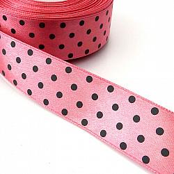 Panglica satin 2.5 cm - Roz cu buline gri