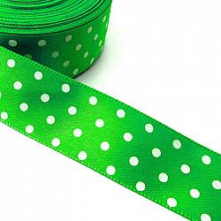 Panglica satin 2.5 cm - Verde cu buline albe