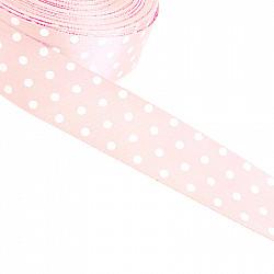 Panglica satin 2 cm - Roz pal, cu buline albe
