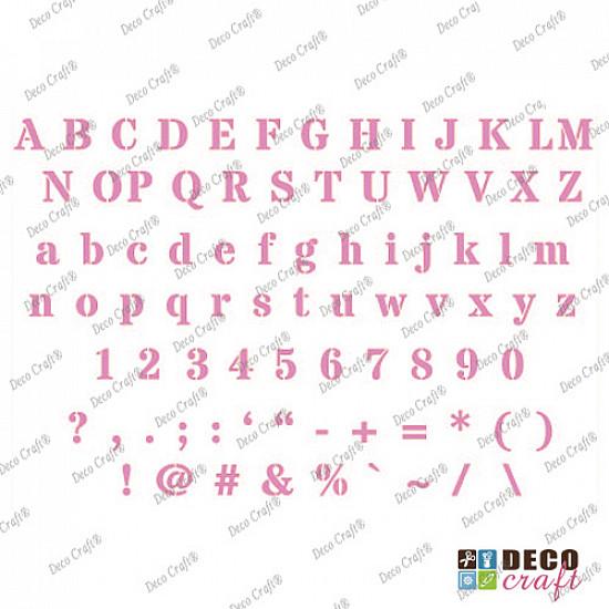 Sablon A4 - Alfabet si cifre - 21x29.7 cm