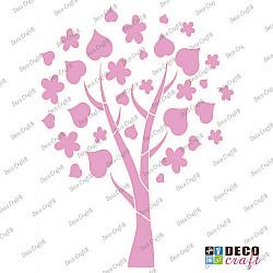 Sablon A4 - Copacel cu frunze si flori - 21x29.7 cm