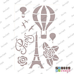 Sablon A4 - Cu balonul in Paris - 21x29.7 cm