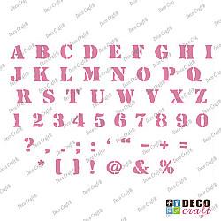 Sablon A5 - Alfabet si cifre 2 - 14.5x21 cm