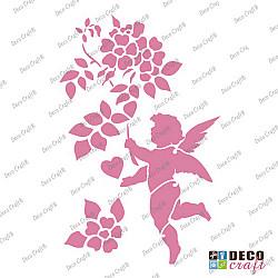 Sablon A5 - Ingeras cu flori - 14.5x21 cm