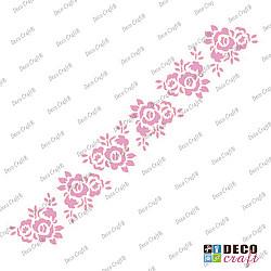 Sablon bordura - Roze in bucete - 29x7 cm