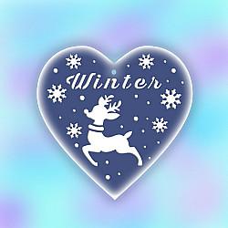 Sablon de iarna, pentru globulete - Inima cu cerb - 12cm