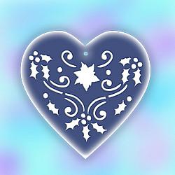 Sablon de iarna, pentru globulete - Inima cu decor - 10,5cm