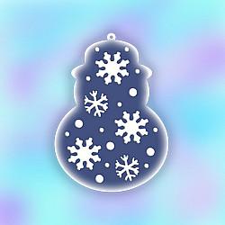 Sablon de iarna, pentru globulete - Om de zapada cu fulgi de nea - 12cm