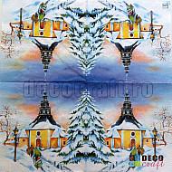 Servetele - Apus de iarna in  Seiffener - 33x33cm, 4 buc