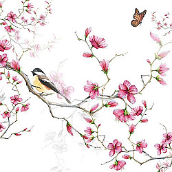 Servetele - Bird & Blossom (alb) - 33x33cm, 1 pachet (20 buc.)