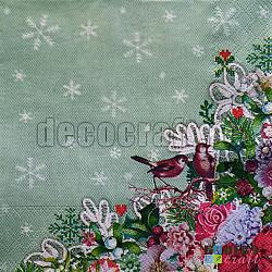 Servetele - Broderie de iarna - 33x33cm, 4 buc