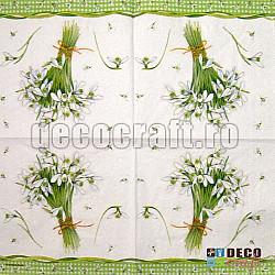 Servetele - Buchetel de ghiocei - 25x25cm, 4 buc