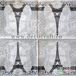 Servetele - Buline si Turnul Eiffel - 33x33cm, 4 buc