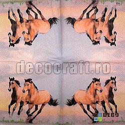 Servetele - Cai salbatici - 33x33cm, 4 buc