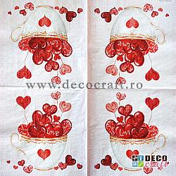 Servetele - Cana cu inimi - 33x33cm, 4 buc