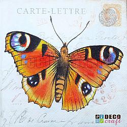 Servetele - Carte postala cu fluture - 33x33cm, 1 pachet (20 buc.)