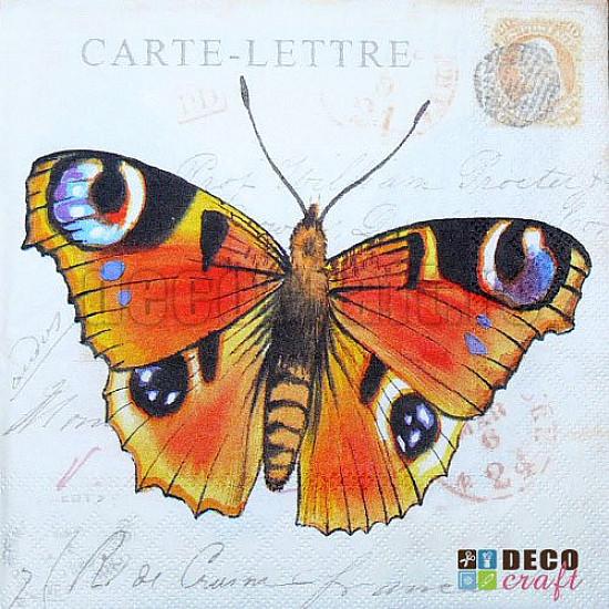 Servetele - Carte postala cu fluture - 33x33cm, 4 buc