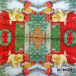 Servetele - Catelusul de Craciun - 33x33cm, 4 buc