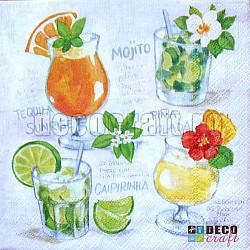 Servetele - Cocktails - 33x33cm, 4 buc.