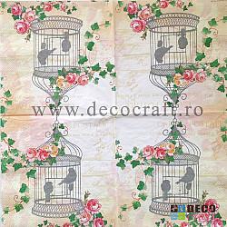 Servetele - Colivie si flori - 33x33cm, 4buc