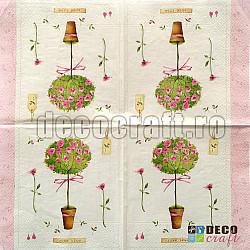 Servetele - Copacel cu trandafiri - 33x33cm, 4buc