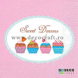Servetele - Cupcakes dulci - 33x33cm, 4 buc.