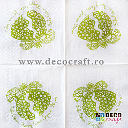 Servetele - In curtea oului (verde) - 33x33cm, 4 buc
