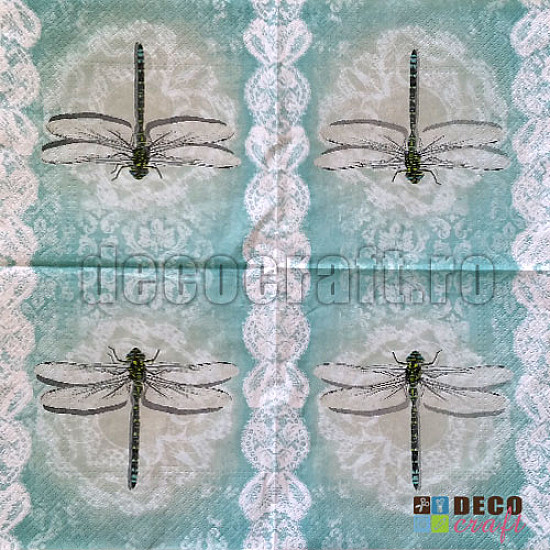 Servetele - Dantela si libelule - 33x33cm, 4 buc