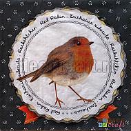 Servetele - Domnul Robin (Gri) - 33x33cm, 4 buc