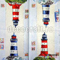 Servetele - Far pe coasta - 33x33cm, 4 buc.