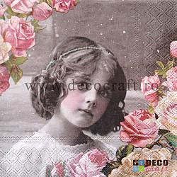 Servetele - Fetita cu trandafiri roz - 33x33cm, 4buc