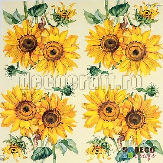 Servetele - Floarea-soarelui - 25x25cm, 4 buc.