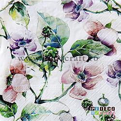 Servetele - Flori salbatice (mov) - 33x33cm, 4 buc