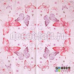 Servetele - Fluturasi delicati (roz) - 33x33, 4 buc.
